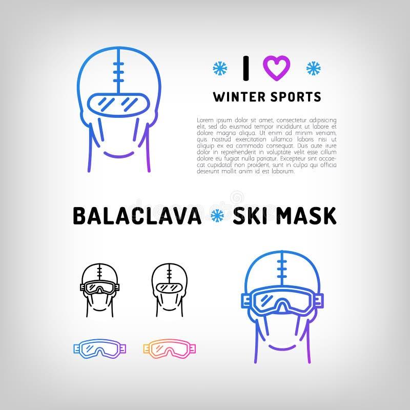 Vektorbalaclavasymbolen, skidar maskeringen, snowboardutrustning den kiting floden skidar snöig sportvinter royaltyfri illustrationer