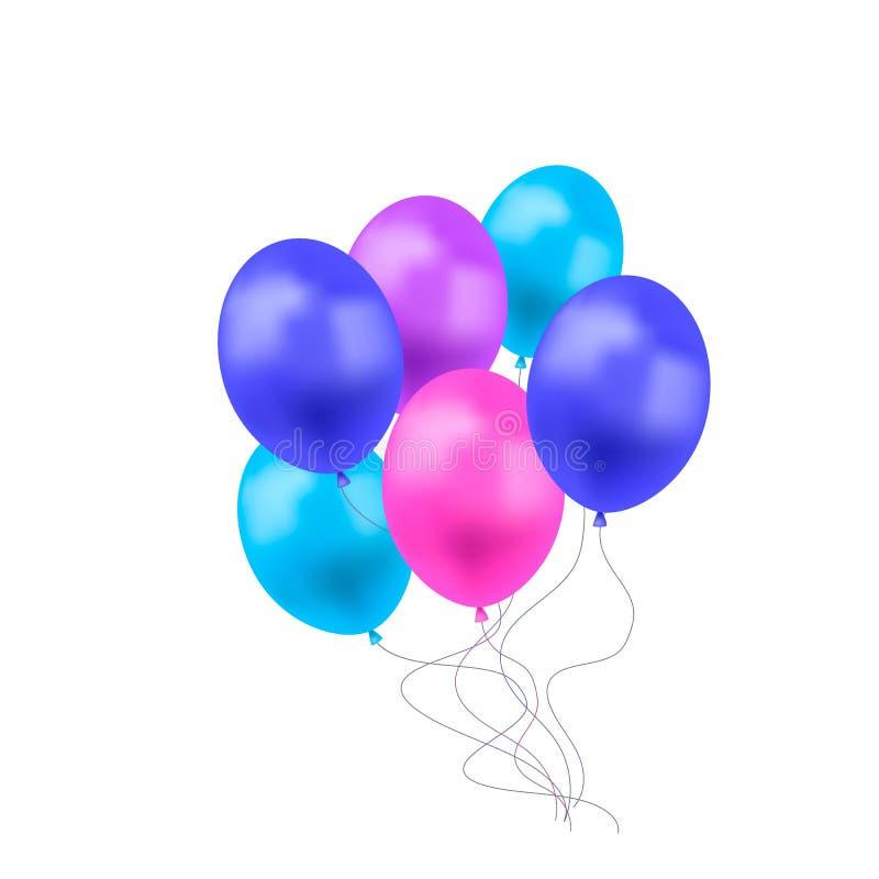 Vektorballonggrupp som isoleras på vit bakgrund, färgrika blåa, purpurfärgade och rosa ballonger stock illustrationer
