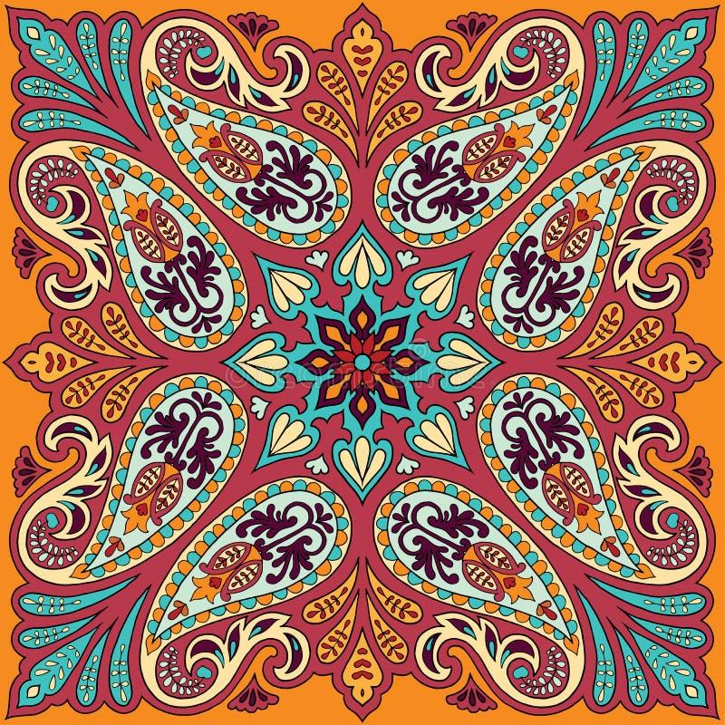 Vektorbandanatryck med den paisley prydnaden Bomulls- eller silkesjalett, design för sjalettfyrkantmodell, orientalisk stil stock illustrationer
