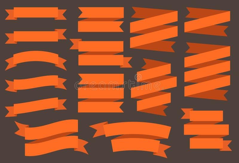 Vektorbandbaner som isoleras på svart bakgrund Orange färgband Ställ in av 15 plana orange bandbaner royaltyfri illustrationer