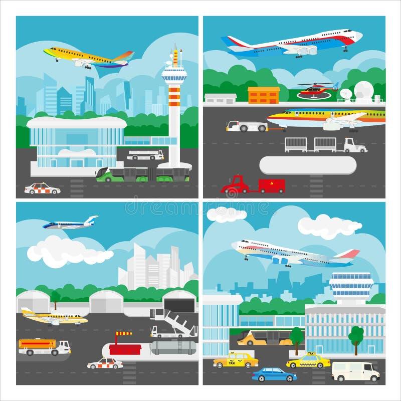 Vektorbaner av flygplatslandskapet royaltyfri illustrationer