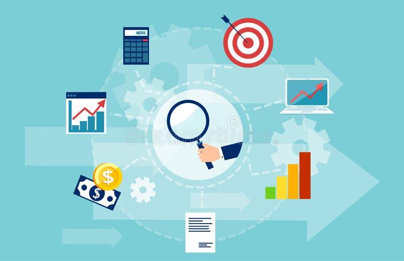 Vektorbaner av marknadsforskning med affärssymboler vektor illustrationer