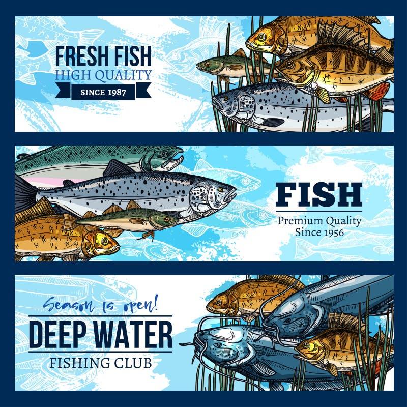 Vektorbaner för att fiska eller fiskareklubba royaltyfri illustrationer