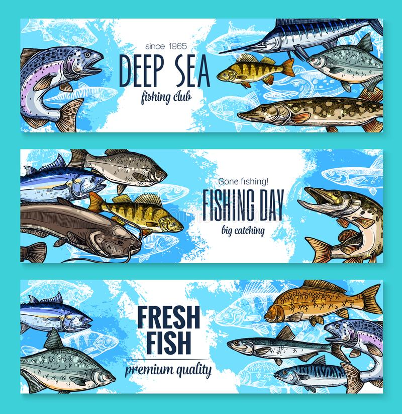 Vektorbaner för att fiska eller fiskhavsliv royaltyfri illustrationer