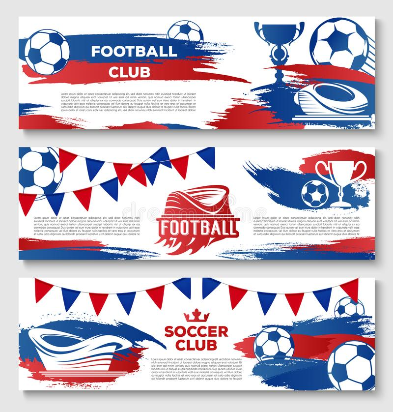 Vektorbaner för fotboll- eller fotbollklubba royaltyfri illustrationer