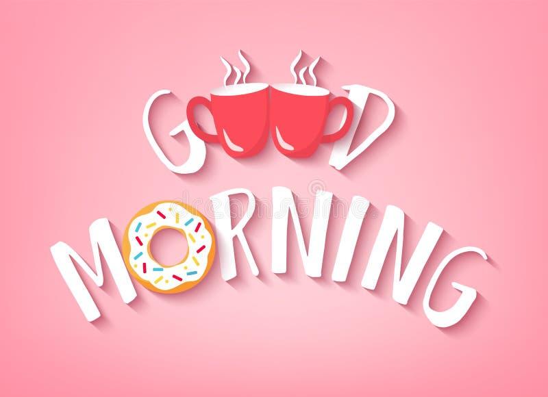 Vektorbaner för frukost med bra morgon för text, munken och två röda koppar kaffe på rosa bakgrund Gullig illustration för stock illustrationer