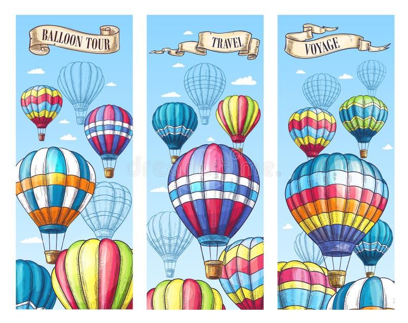 Vektorbaner för lopp för ballong för varm luft turnerar stock illustrationer