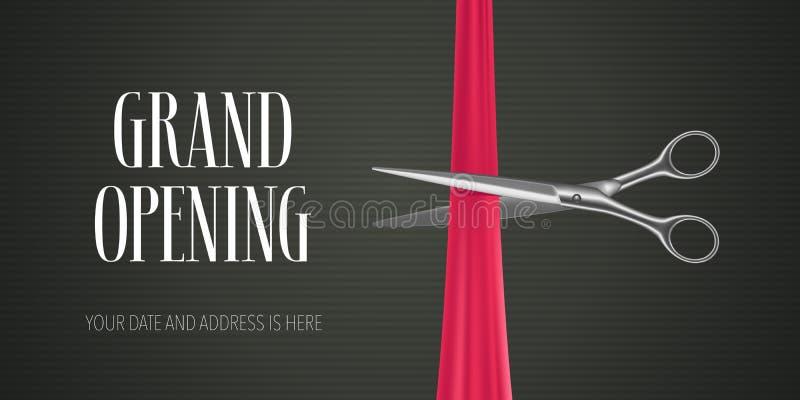 Vektorbaner för storslagen öppning, illustration Icke-standard designbeståndsdel med sax royaltyfri illustrationer