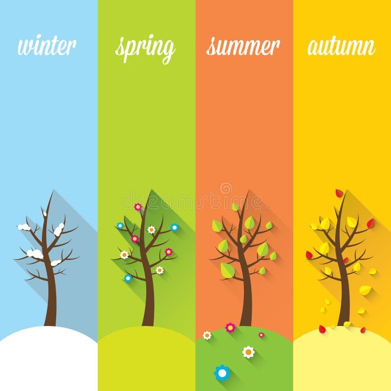 Vektorbaner - fyra säsonger royaltyfri illustrationer