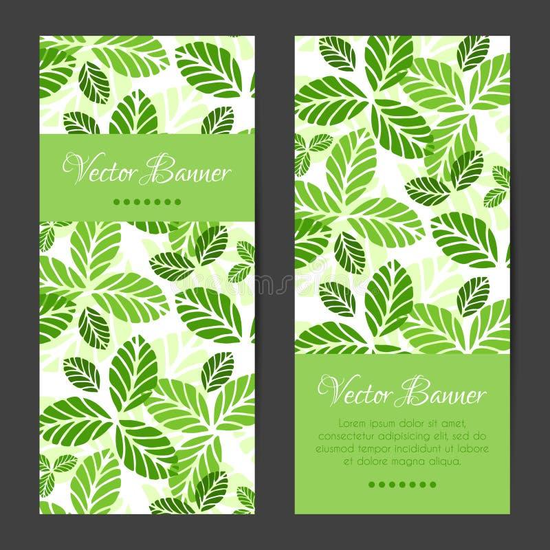 Vektorbaner, kortuppsättning green låter vara modellen royaltyfri illustrationer