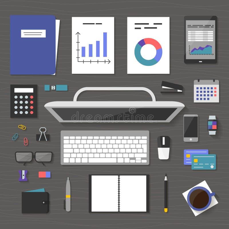 Vektorbaner ledning och administration royaltyfri illustrationer