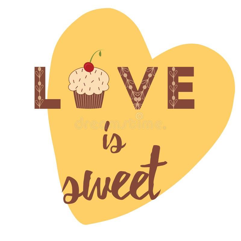 Vektorbaner med den hand dragen gullig muffin och hjärta för typografidesignbeståndsdel royaltyfri illustrationer