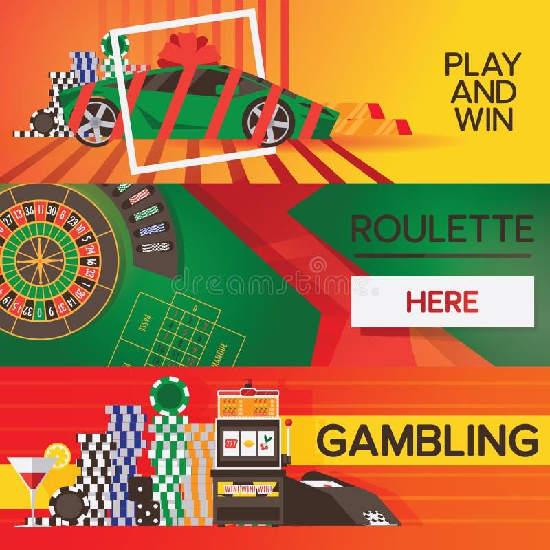 Vektorbaner med kasinot som spelar beståndsdelar Ljusa designer med rouletten och modiga objekt royaltyfri illustrationer