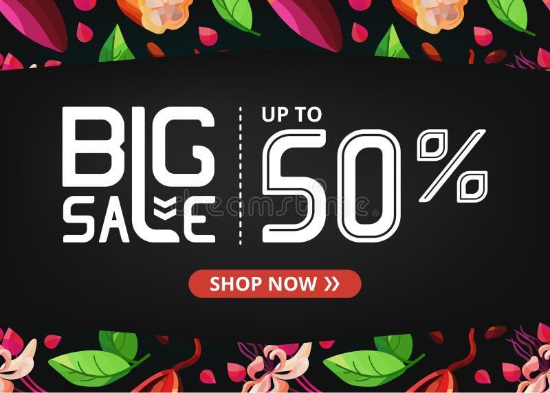 Vektorbaner med stor försäljning upp till femtio procent och kakao med blommor royaltyfri illustrationer