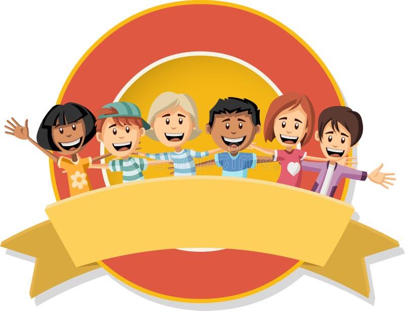 Vektorbaner och etikettbakgrunder med lyckliga tecknad filmbarn royaltyfri illustrationer