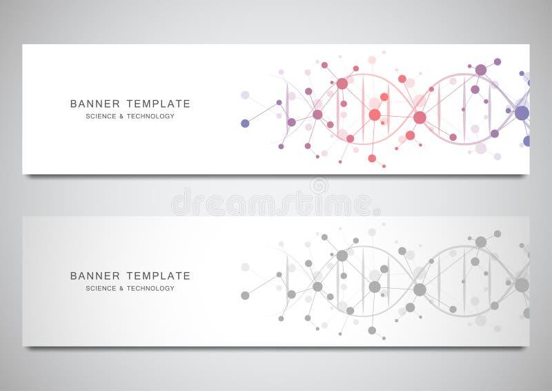 Vektorbaner och titelrader för plats med DNAtråden och den molekylära strukturen Genteknik eller laboratoriumforskning vektor illustrationer