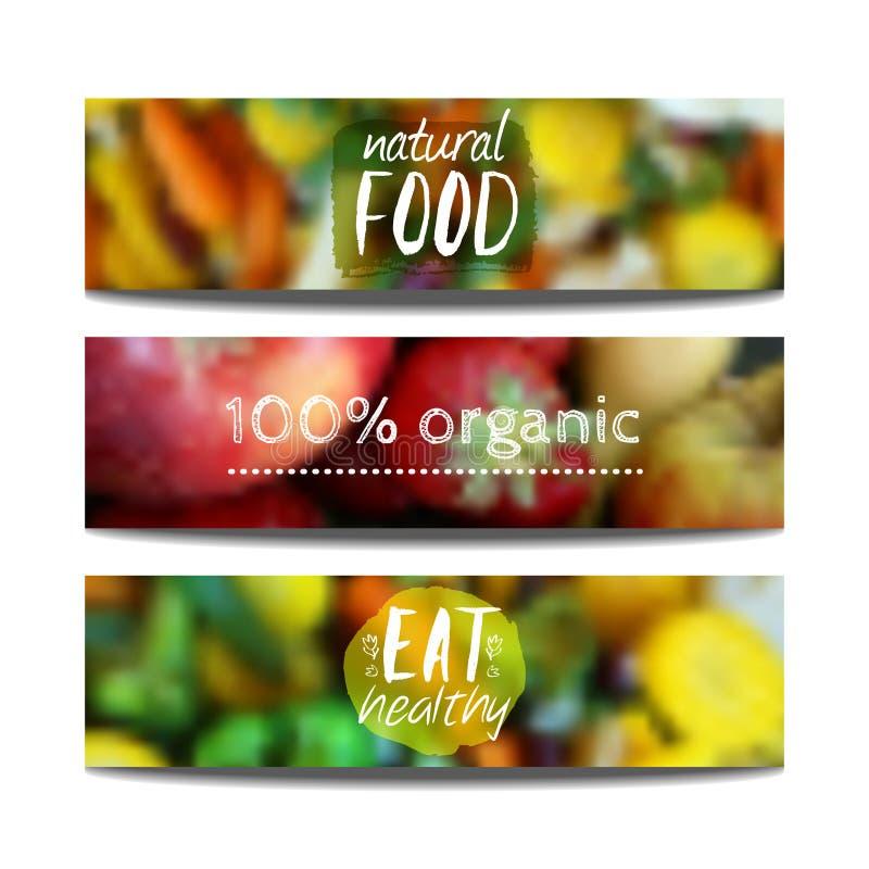 Vektorbaner planlägger mallen med suddighetsbakgrund med frukter och grönsaker Sunt ny vegeterian och ecobegrepp f?r mat, stock illustrationer