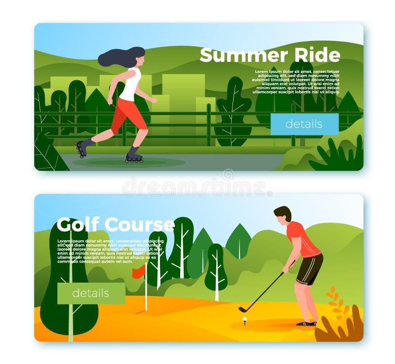 Vektorbaner - rullande flicka och golf som spelar mannen vektor illustrationer