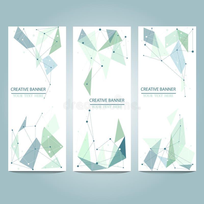 Vektorbaner ställde in med polygonal abstrakta former, med cirklar, linjer, trianglar vektor illustrationer