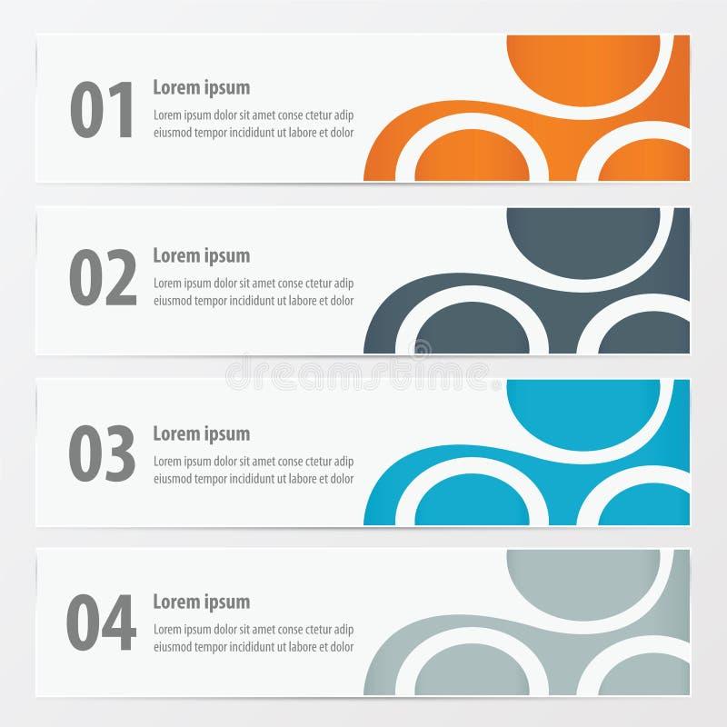 Vektorbanerapelsinen, blått, grå färger färgar royaltyfri illustrationer