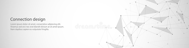 Vektorbanerdesign, global anslutning med linjer och prickar Digital geometrisk abstrakt bakgrund royaltyfri illustrationer
