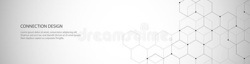 Vektorbanerdesign, global anslutning med linjer och prickar Digital geometrisk abstrakt bakgrund vektor illustrationer