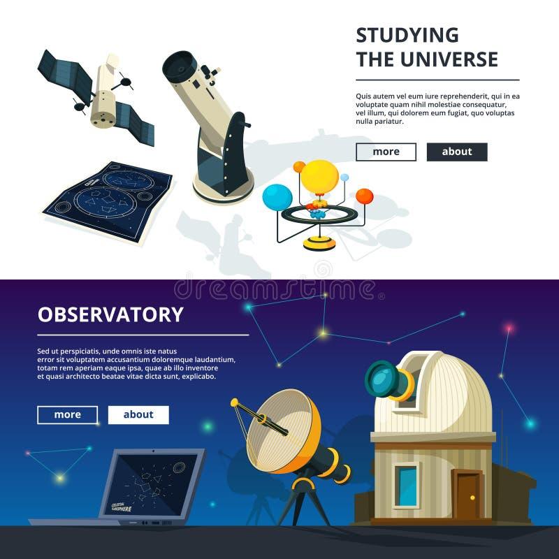 _ Vektorbaneruppsättning av vetenskapstemat vektor illustrationer