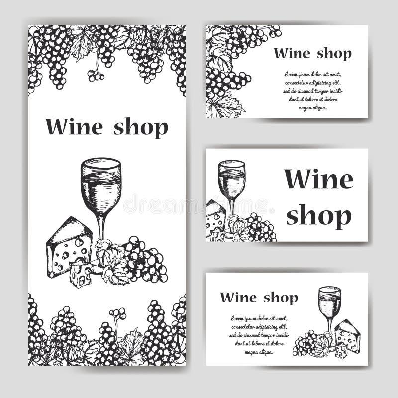 Vektorbaneruppsättning av vinföretaget Restaurangtema Mall för vinmeny Hand dragen design för affisch eller kort vektor illustrationer