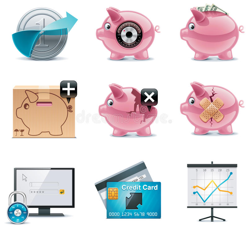 Vektorbankverkehrsikonen. Teil 1