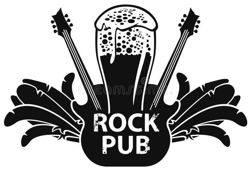 Vektorbanret för vaggar baren med gitarren och öl vektor illustrationer