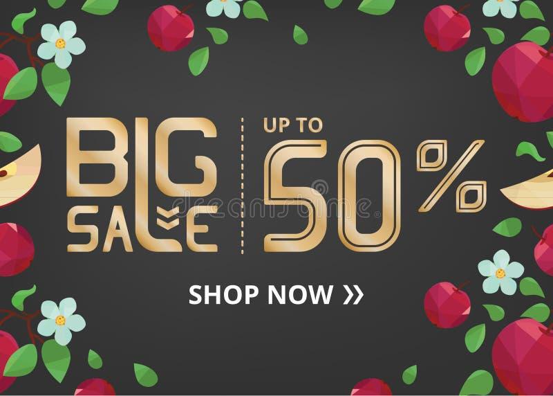 Vektorbanret med att märka stor försäljning upp till femtio procent shoppar nu och äpplet med blomman stock illustrationer