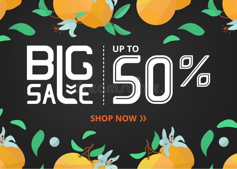 Vektorbanret med att märka stor försäljning upp till femtio procent shoppar nu och apelsinen med blommor royaltyfri illustrationer