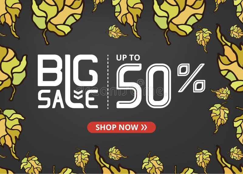 Vektorbanret med att märka stor försäljning upp till femtio procent shoppar nu och höstsidor royaltyfri illustrationer