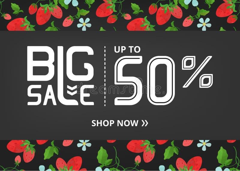 Vektorbanret med att märka stor försäljning upp till femtio procent shoppar nu och jordgubben med blomman royaltyfri illustrationer