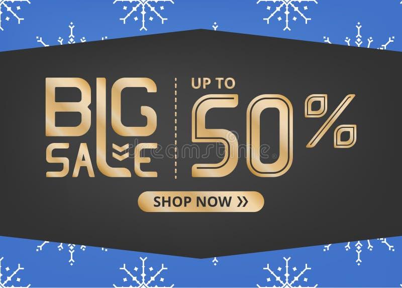 Vektorbanret med att märka stor försäljning upp till femtio procent shoppar nu och med den vita snöflingan på blåttfält stock illustrationer