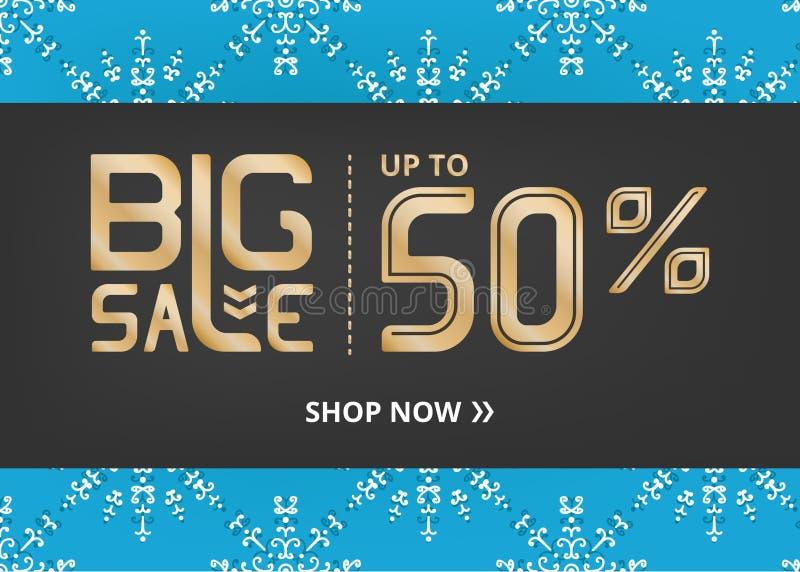 Vektorbanret med att märka stor försäljning upp till femtio procent shoppar nu och med snöflingan på blåttfält stock illustrationer