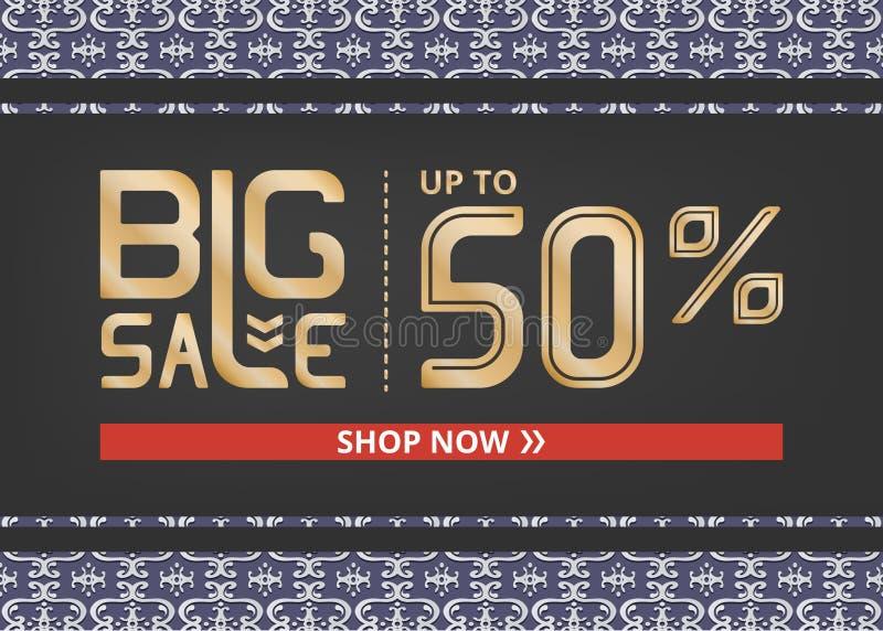 Vektorbanret med stor försäljning för guld- bokstäver upp till femtio procent shoppar nu och den klassiska modellen på blått vektor illustrationer