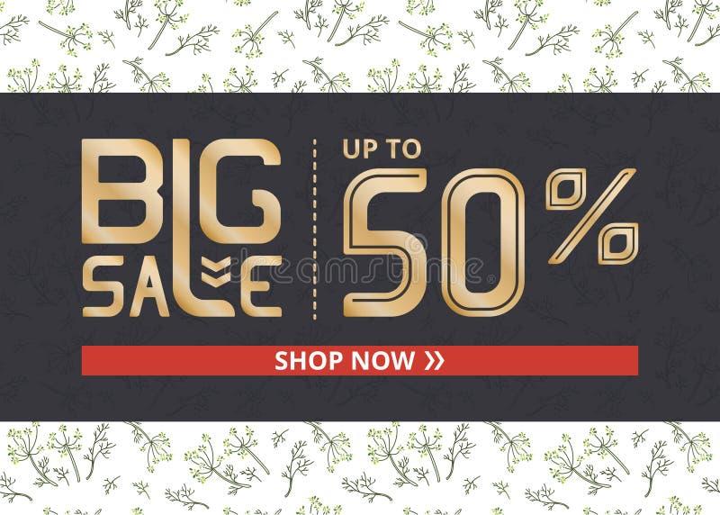 Vektorbanret med stor försäljning för guld- bokstäver upp till femtio procent shoppar nu och fänkål stock illustrationer