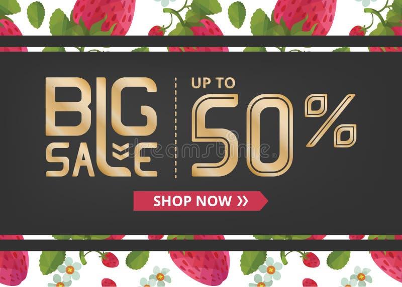 Vektorbanret med stor försäljning för guld- bokstäver upp till femtio procent shoppar nu och jordgubben med sidor royaltyfri illustrationer