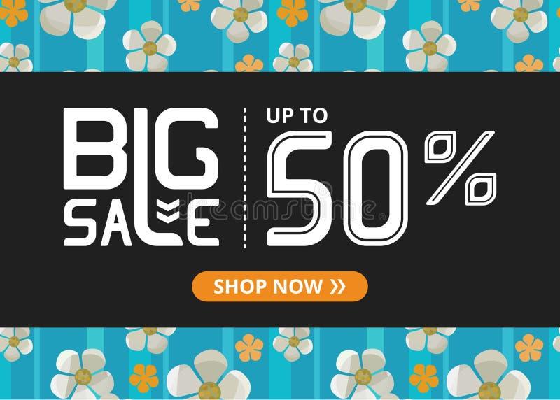 Vektorbanret med stor försäljning för vit bokstäver upp till femtio procent shoppar nu och blomstra körsbäret stock illustrationer