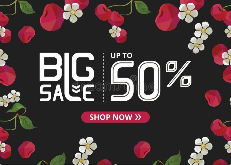 Vektorbanret med stor försäljning för vit bokstäver upp till femtio procent shoppar nu och körsbäret royaltyfri illustrationer
