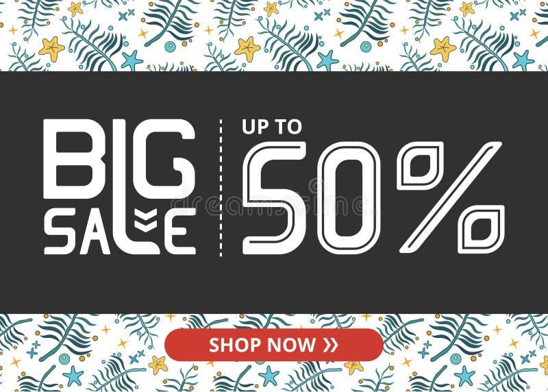Vektorbanret med stor försäljning för vit bokstäver upp till femtio procent shoppar nu och slösar växter vektor illustrationer