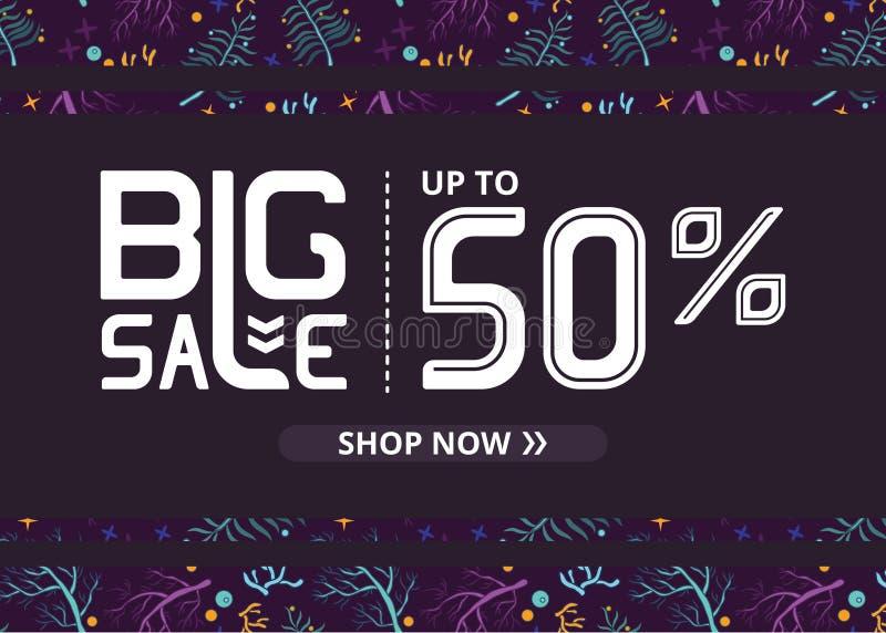 Vektorbanret med stor försäljning för vit bokstäver upp till femtio procent shoppar nu och violett vatten royaltyfri illustrationer