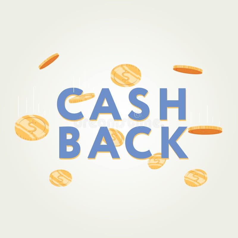 Vektorbargeld-Rückseitenikone auf grauem Hintergrund cashback oder Geldrückerstattungsaufkleber vektor abbildung