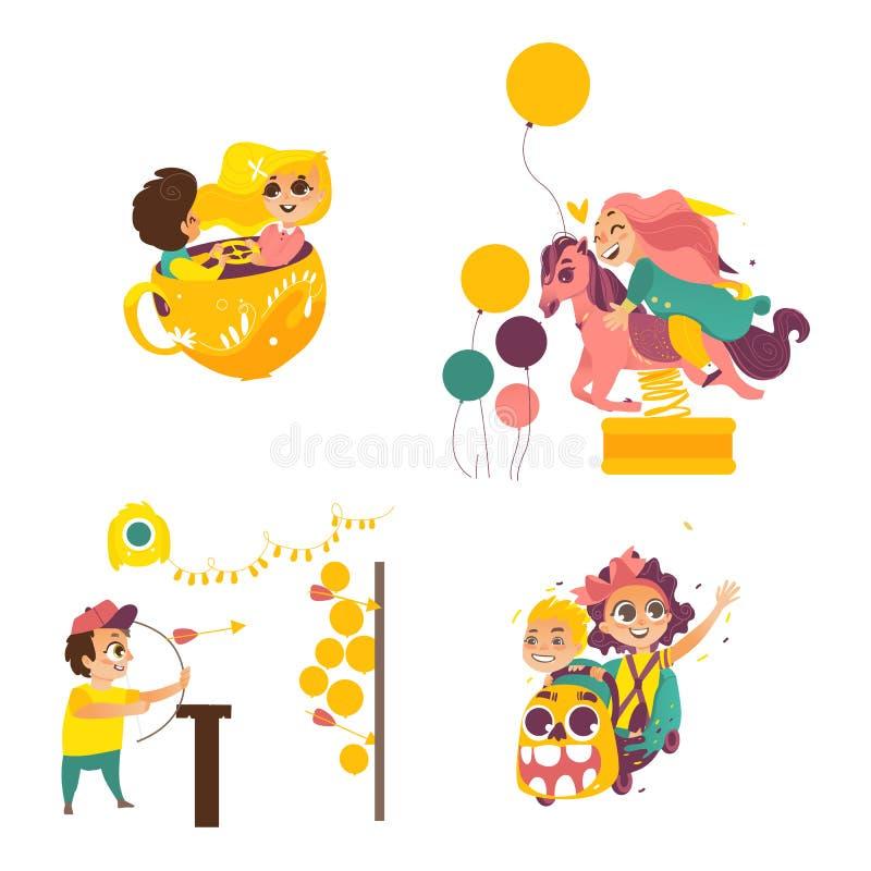 Vektorbarn i nöjesfältuppsättning stock illustrationer