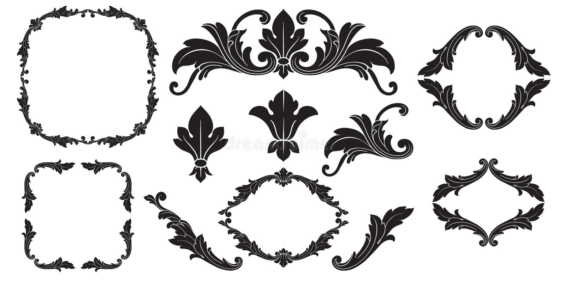 Vektorbarock av tappningbeståndsdelar för design stock illustrationer
