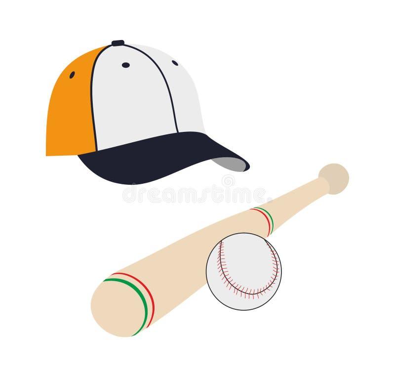 Vektorbaseballboll och slagträ och lock royaltyfri illustrationer