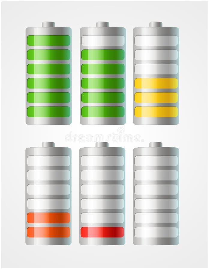 Vektorbatterieikonen mit Niveau der Aufladung stock abbildung