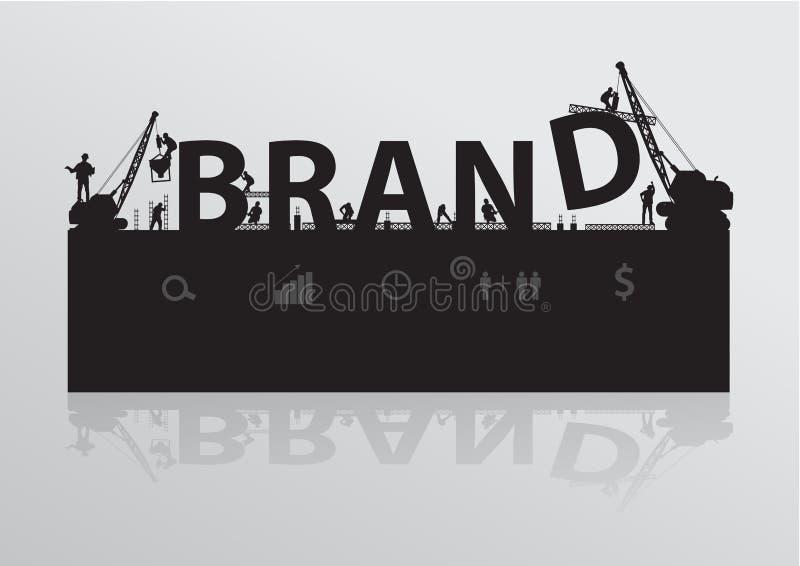 VektorBaustelle-Krangebäude-Markentext stock abbildung