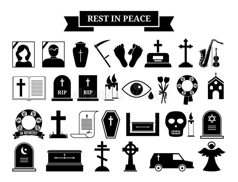 Vektorbegravningsymboler stock illustrationer